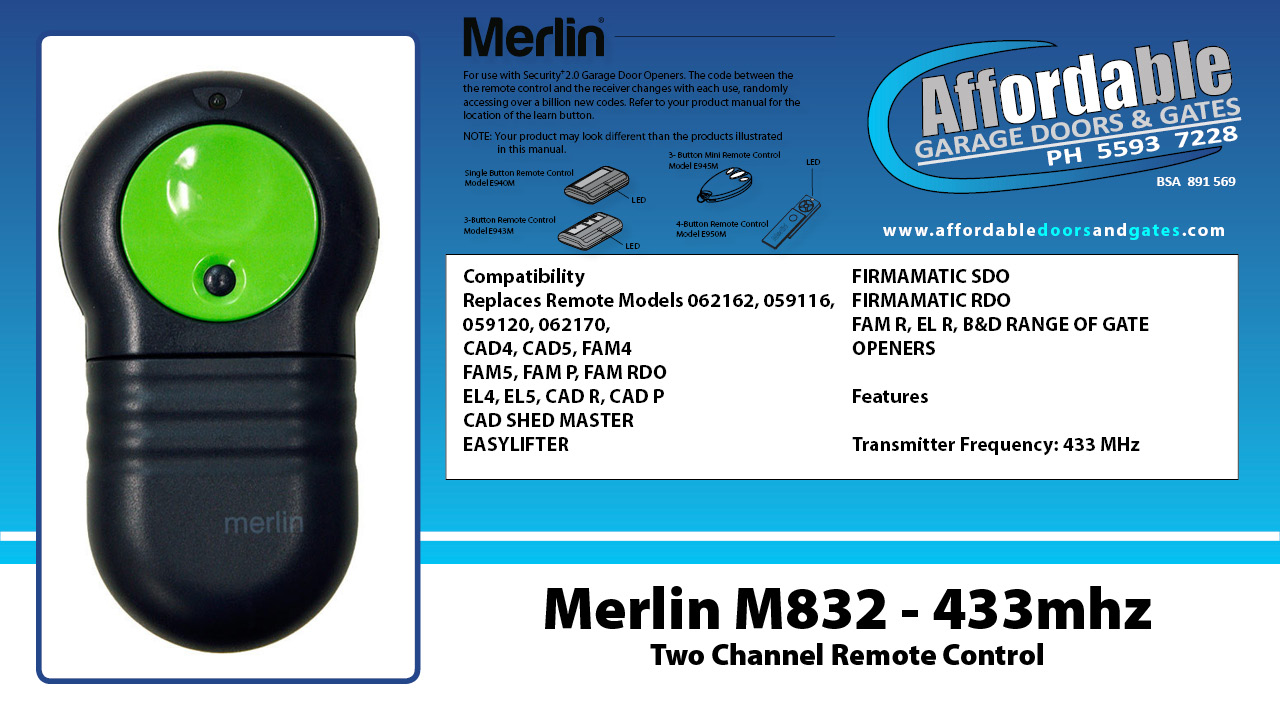 Merlin M832 - 433mhz Two Channel Remote Control