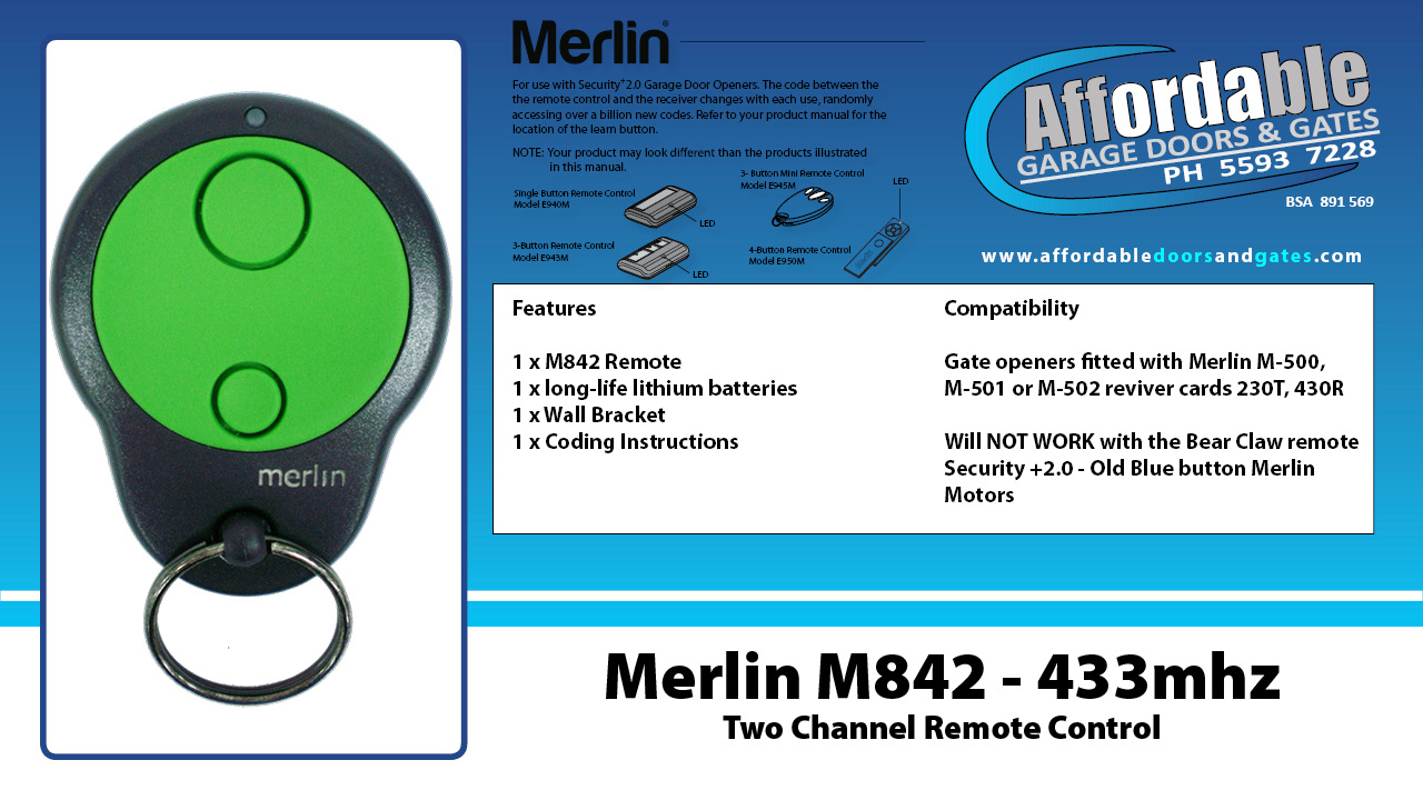 Merlin M842 - 433mhz Two Channel Garage Door Remote Control