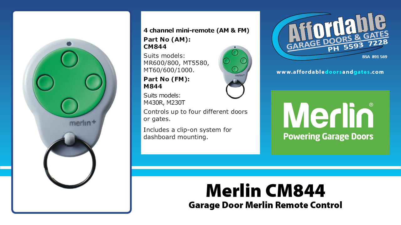 Merlin CM844 Garage Door Merlin Remote Control