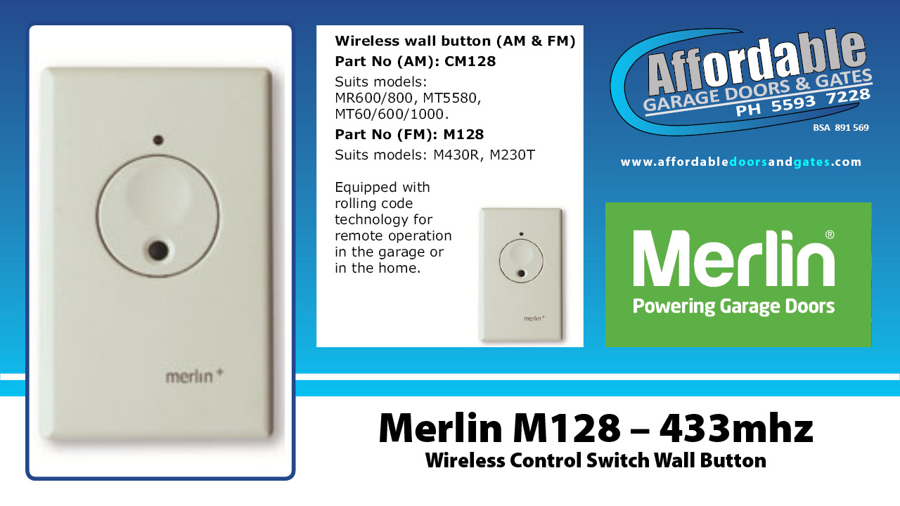 Merlin M128 – 433mhz Wireless Wall Mounted Control Switch