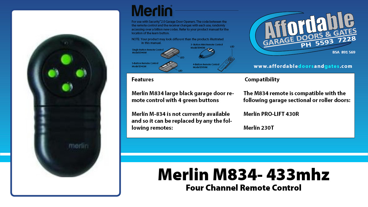 Merlin M834 - 433mhz Four Channel Garage Door Remote Control