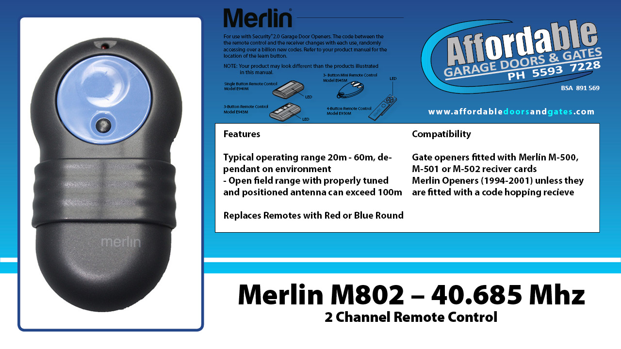Merlin M802 – 2 Channel 40.685 Mhz Garage Door Remote Control